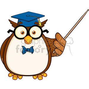 Animal teacher clipart banner stock Royalty Free RF Clipart Illustration Wise Owl Teacher Cartoon Mascot  Character With A Pointer clipart. Royalty-free clipart # 395314 banner stock