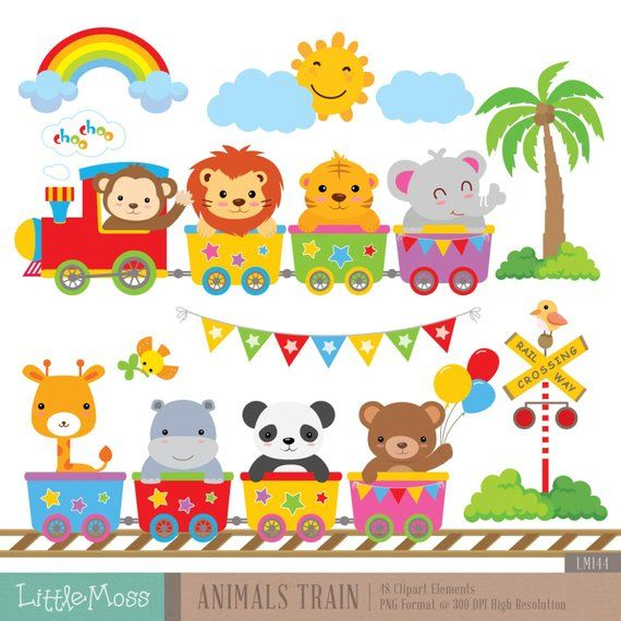 Animal train clipart clip art freeuse download Wild Animals Train Digital Clipart | Products | Clip art, Baby decor ... clip art freeuse download