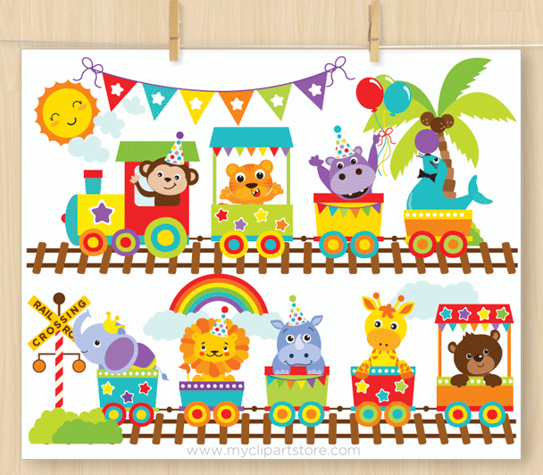 Animals zoo clipart picture black and white Animal Zoo Train Clipart picture black and white