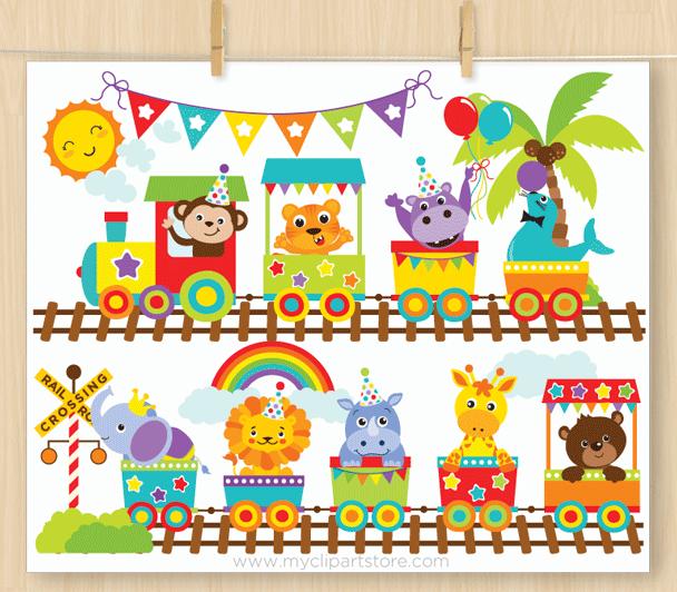 Animal train clipart royalty free Animal Zoo Train Clipart royalty free