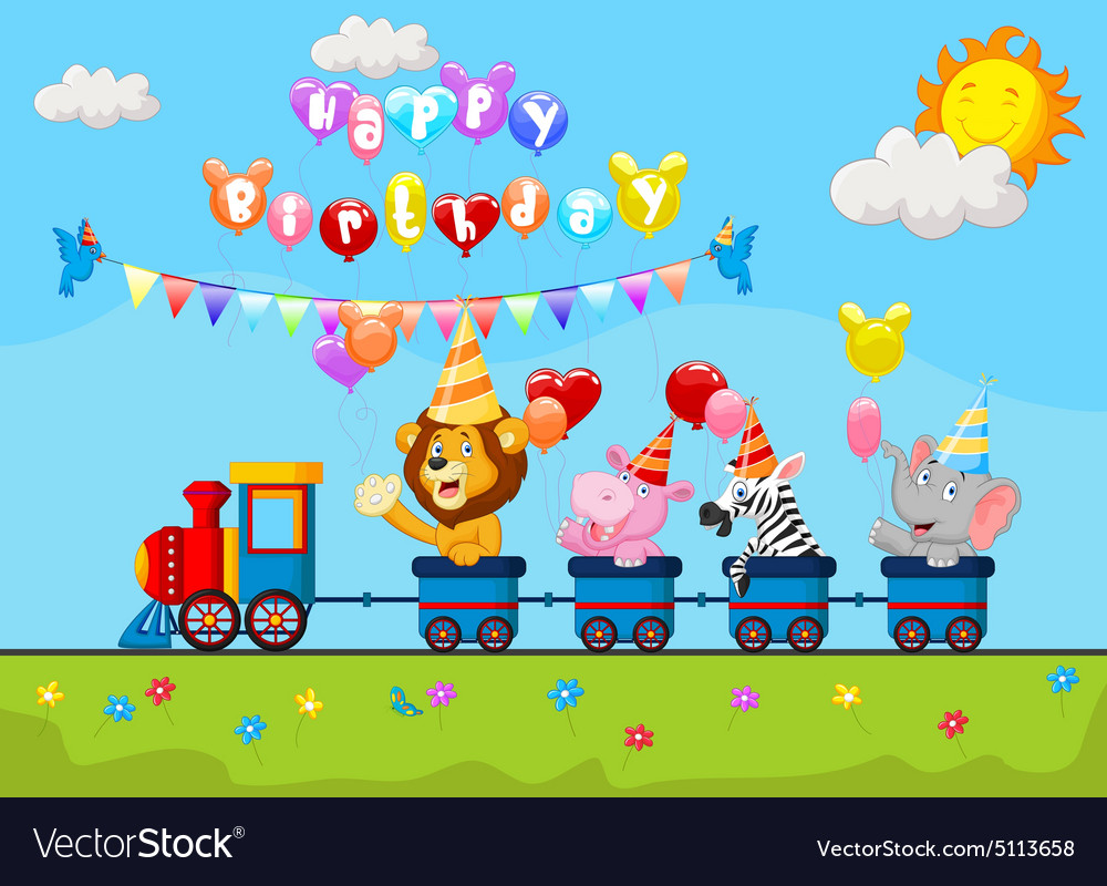 Animal train clipart clip black and white library Birthday cartoon with happy animal on train clip black and white library