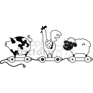 Animal train clipart svg black and white stock Pull Toy Farm Animal Train clipart. Royalty-free clipart # 387297 svg black and white stock