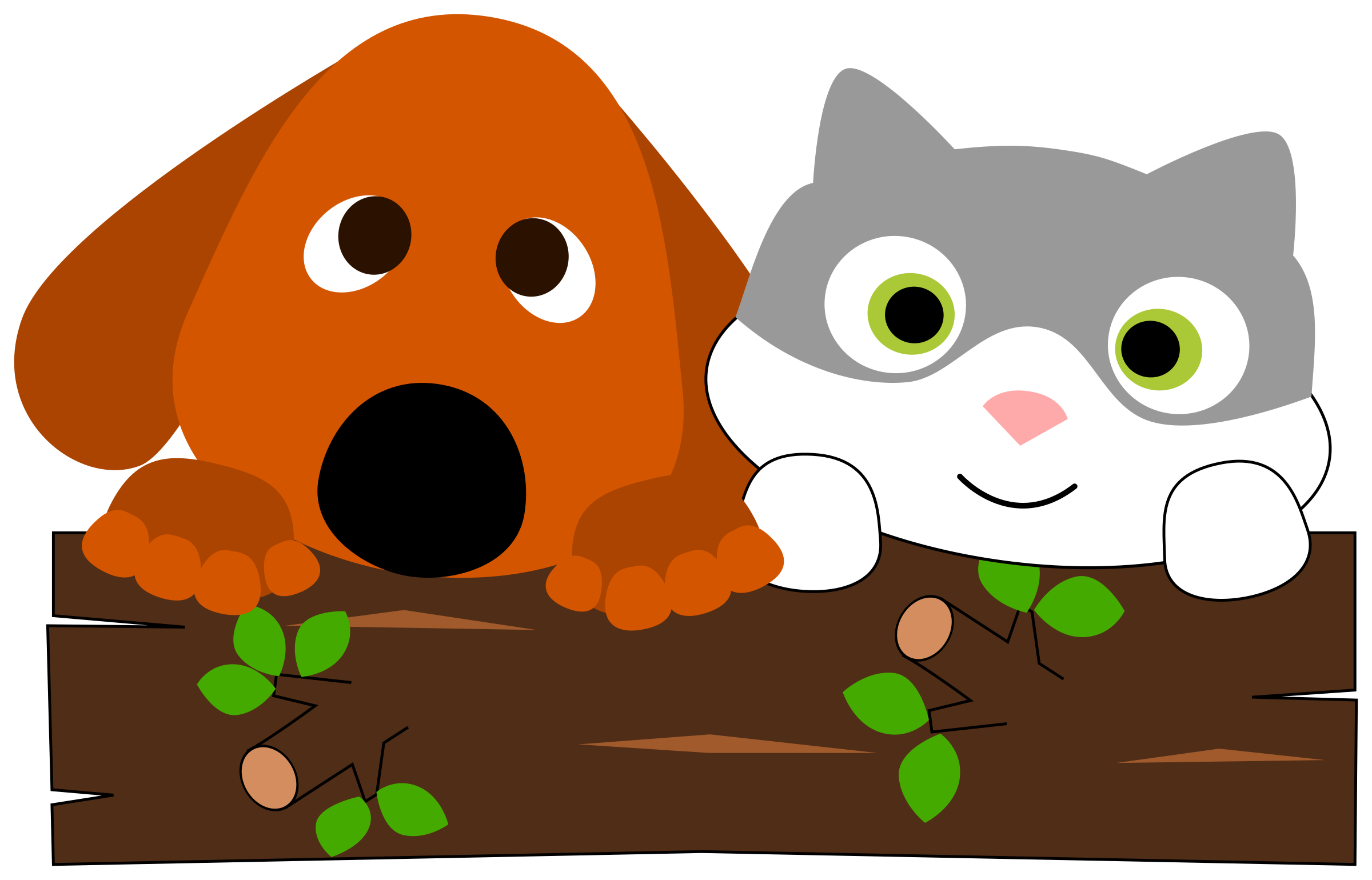 Dog hugging cat clipart vector black and white download Clipart - A dog and a cat behind a tree trunk vector black and white download