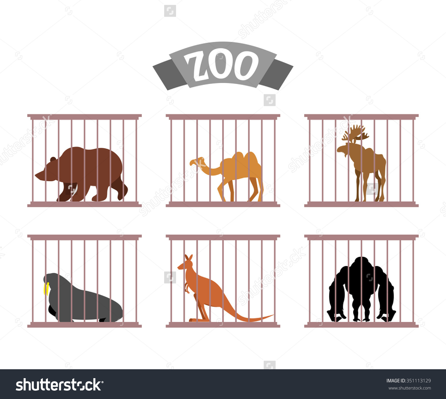 Zoo collection wild animals. Animal vs person clipart