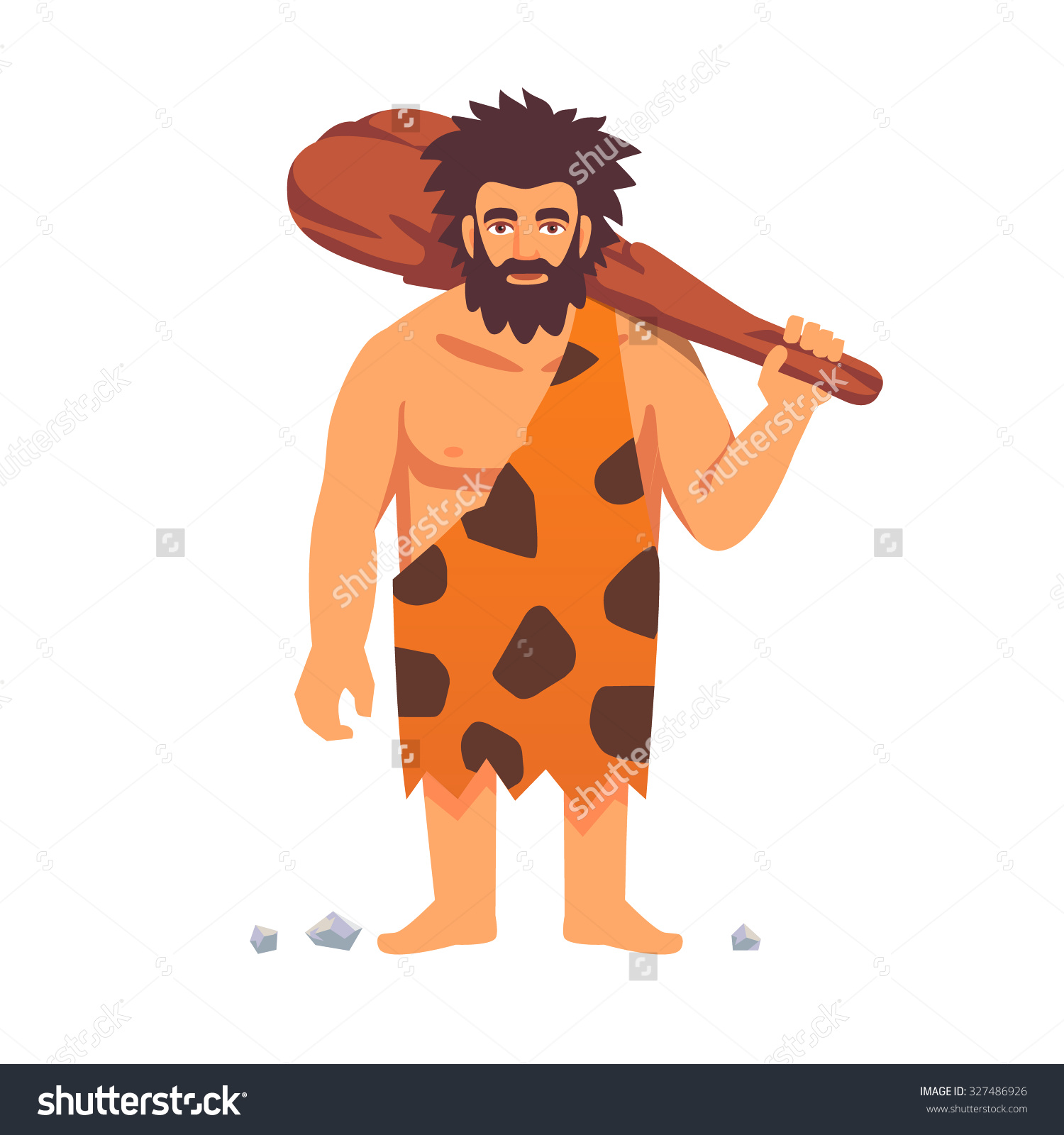 Stone Age Primitive Man Animal Hide Stock Vector 327486926 ... picture black and white stock