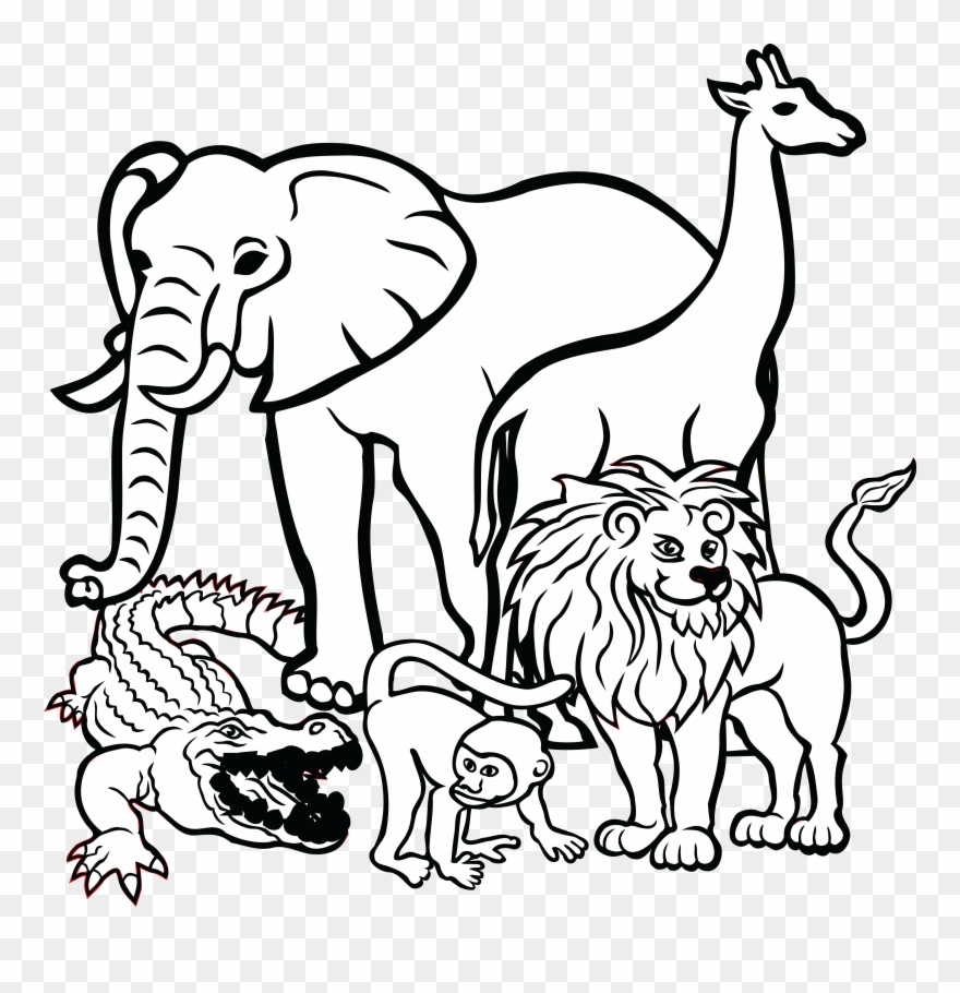 Animal with balloons black and white clipart svg black and white library Free Clipart Of African Animals - Animals Clipart Black And White ... svg black and white library