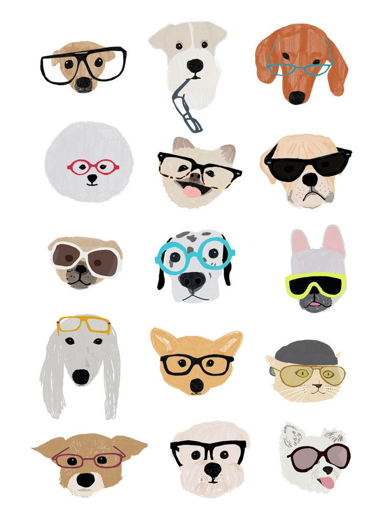 Animal with silly goggles clipart banner free Hanna Melin \'Dogs with Glasses\' | illus | Dog with glasses, Dog ... banner free