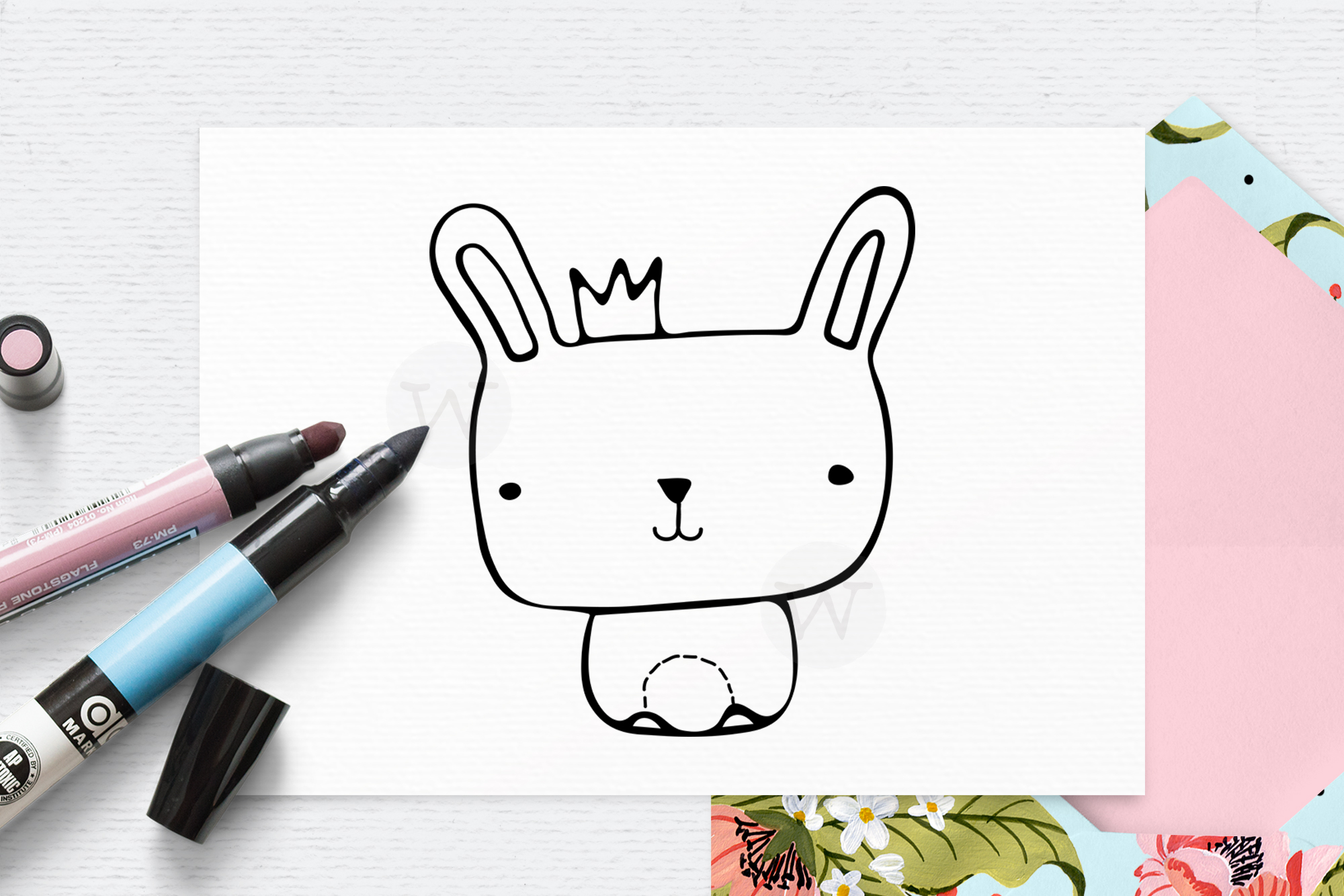 Animal with writing pen clipart clip art royalty free stock Animal digital stamp, digi stamp, doodle clipart, cute bunny clip art royalty free stock