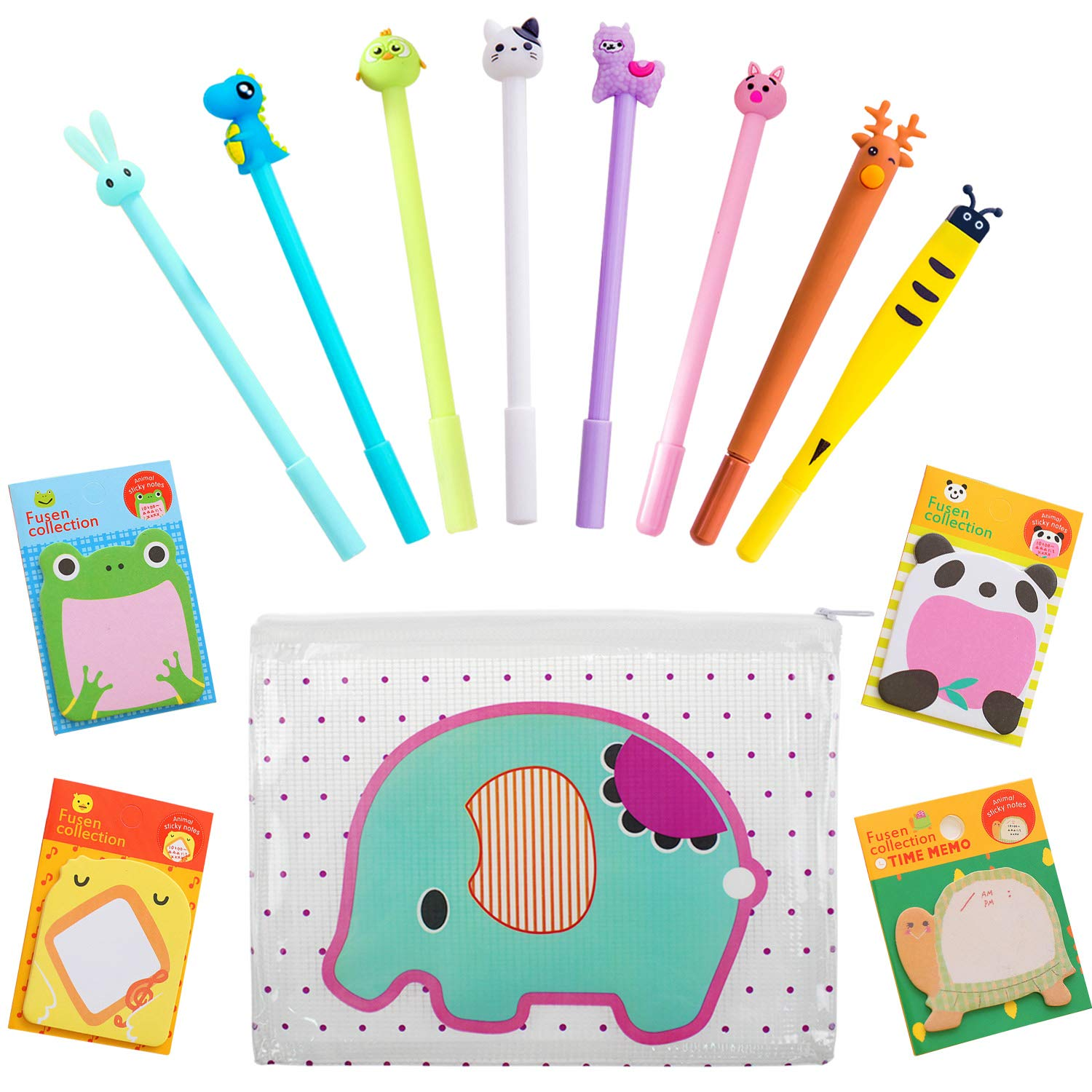 Animal with writing pen clipart banner black and white library Kids Animal Pens Cute School Gift,8 pcs Black Ink Gel Pen Ballpoint Pens  Cute Pencil Case Suit for Children School Stationary Writing Set banner black and white library