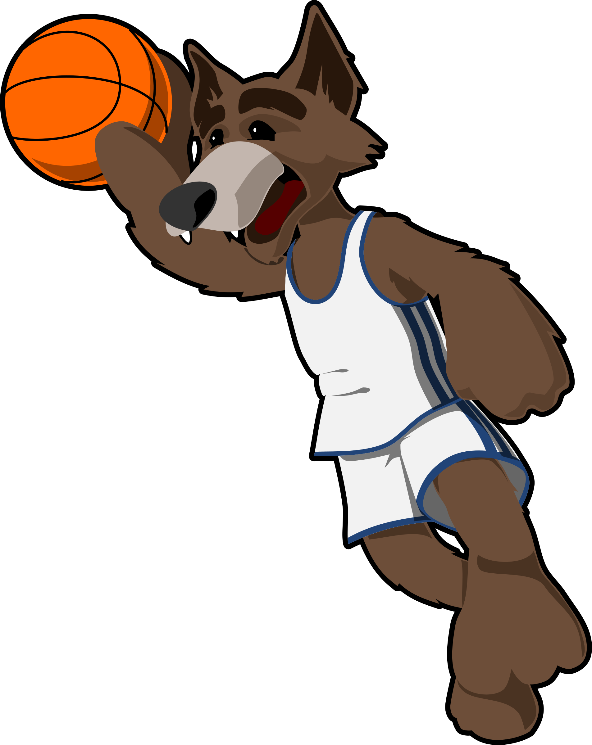 Animals playing basketball clipart vector black and white download Clipart - basketball wolf vector black and white download