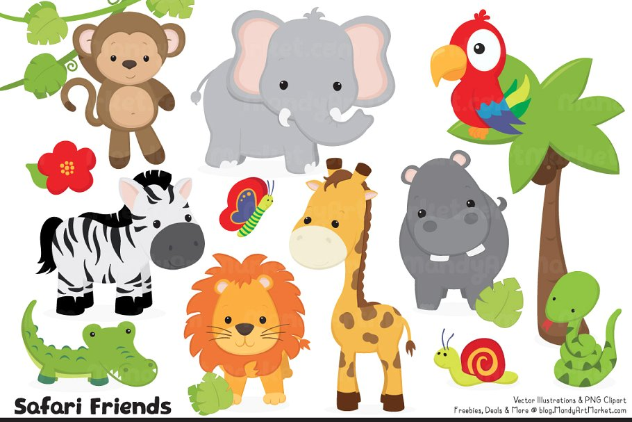Animal number 4 clipart freeuse library Cute Jungle Animal Clipart freeuse library