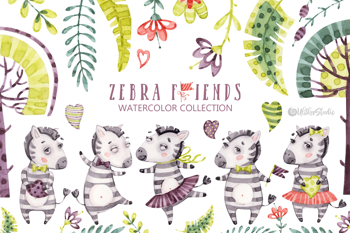 Tropical baby clipart svg library download Cute Zebra Friends clip art. Kids watercolor tropical collections. Cute ... svg library download