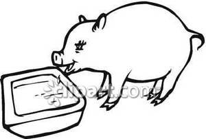 Animals at a trough clipart black and white