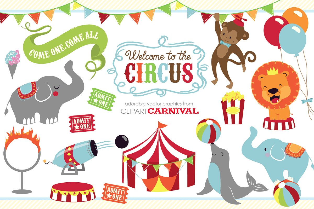 Circus graphics clipart clip free stock Cute baby circus animals clip art clip free stock