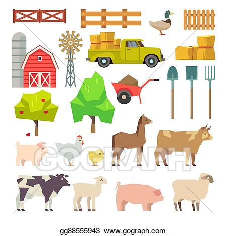 Animals building clipart image transparent stock Vector Art - Cartoon farm elements, animals, building, tools, trees ... image transparent stock