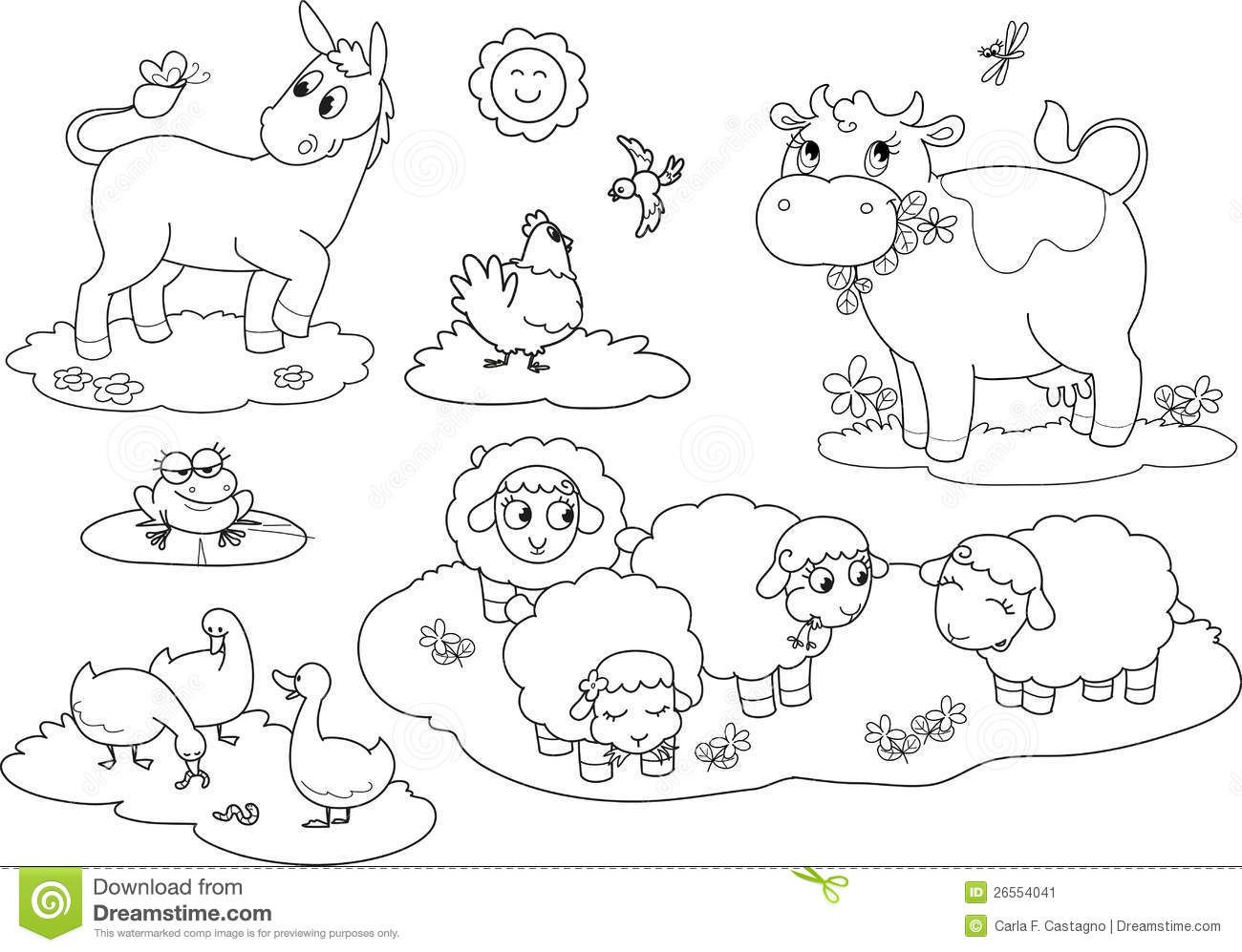 Animals clipart coloring pages clip art free download Farm Animals Pictures To Color | Wallpapers Gallery | Drawing | Farm ... clip art free download