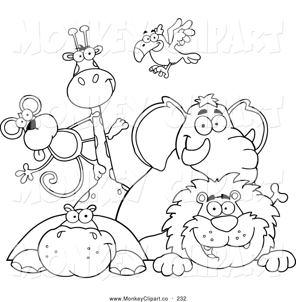Animals clipart coloring pages picture black and white Zoo Animal Coloring Pages New Clip Art Coloring Pages Zoo Animals ... picture black and white