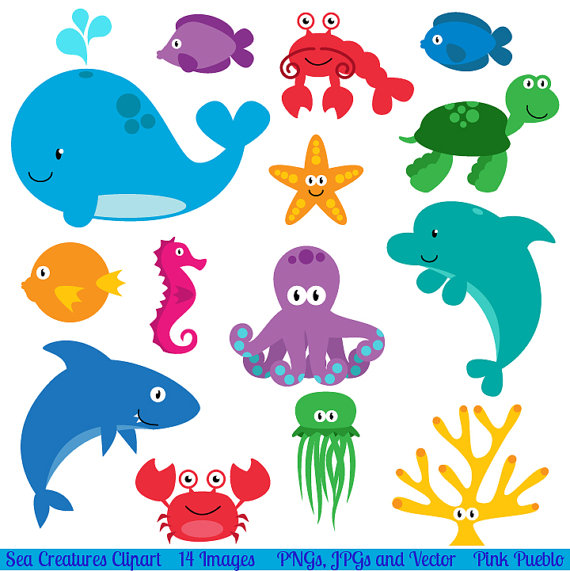 Animals in the coean clipart image black and white library Sea Animal Clipart, Sea Animal Clip Art, Sea Creatures, Fish Clipart ... image black and white library
