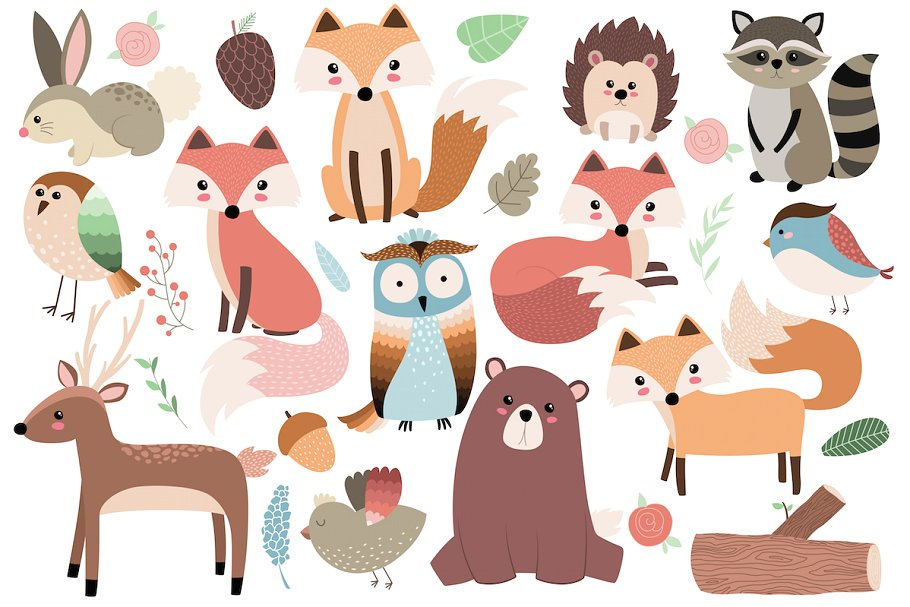 Animals clipart images vector freeuse Woodland Forest Animals Clipart Set vector freeuse