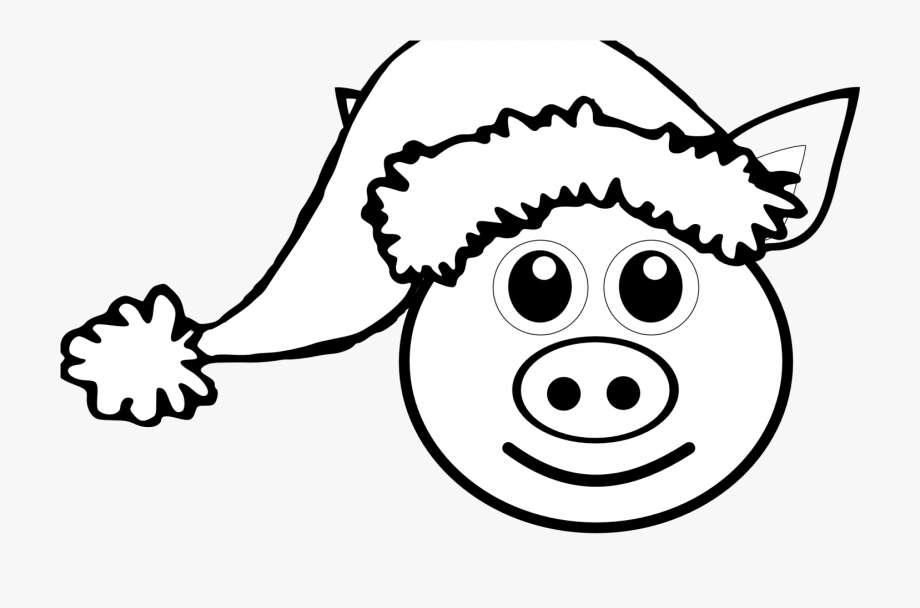 Animals coloring page clipart vector black and white stock Domestic Animals Farm Pig Cartoon For Coloring Book - Christmas Pig ... vector black and white stock
