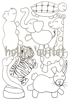 Animals coloring page clipart vector free stock Clipart Animals // Animals Coloring Page, Clipart, Zoo Animals, Cute Animals vector free stock