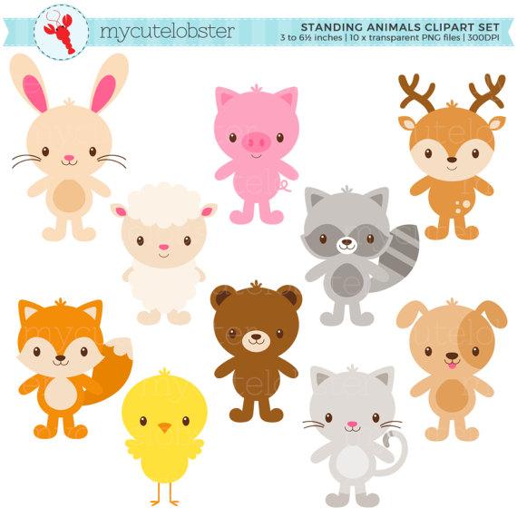 Animals cute clipart svg stock Cute Animals Clipart Set - standing animals clip art, rabbit, sheep ... svg stock