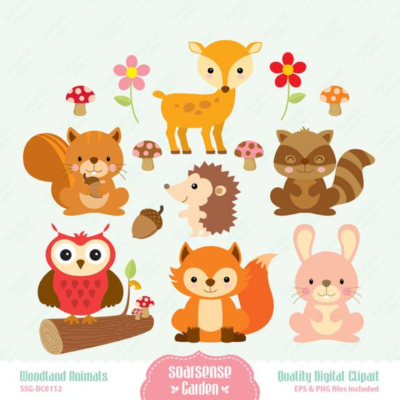 Animals cute clipart for printables vector free download Woodland Animals Digital Clipart by SSGARDEN on Etsy, $3.99 | Name ... vector free download