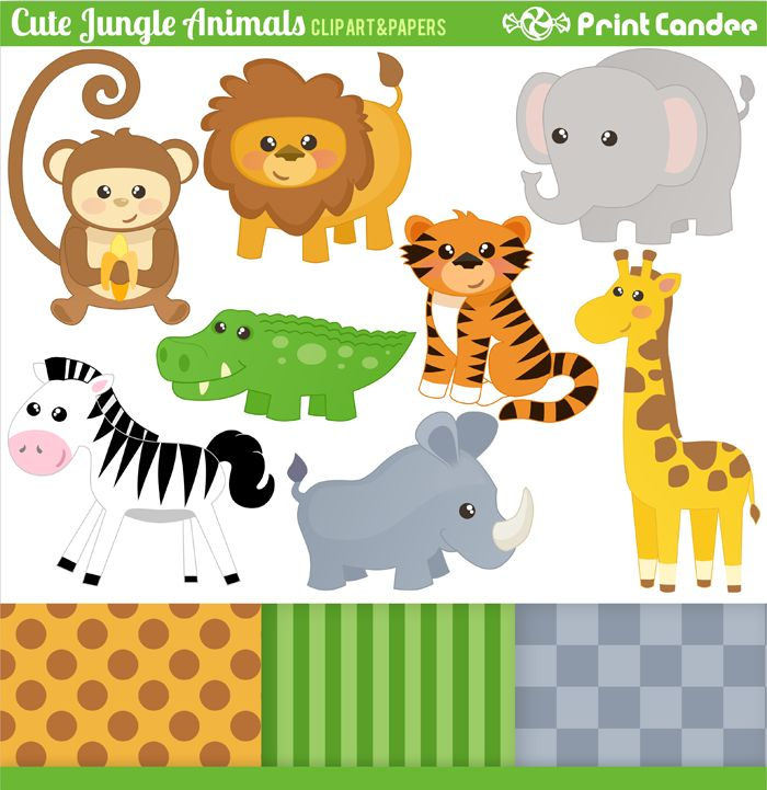 Jungle baby shower kid. Animals cute clipart for printables