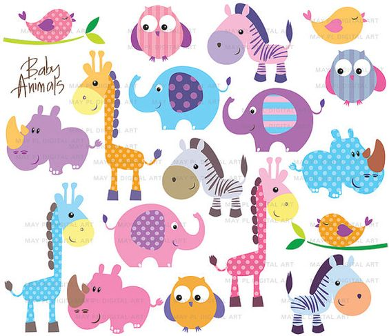 Safari Jungle Animal Clip Art Baby Zoo Animals Cute Clipart ... clip art black and white download