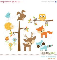 Animals cute clipart for printables clip art library download Woodland Critters Clip Art - Set of 30 300 DPI PNG, JPG, and ... clip art library download