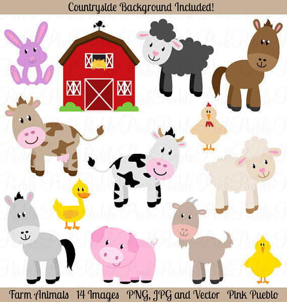 Animals cute clipart for printables. Clipartfest farm clip art