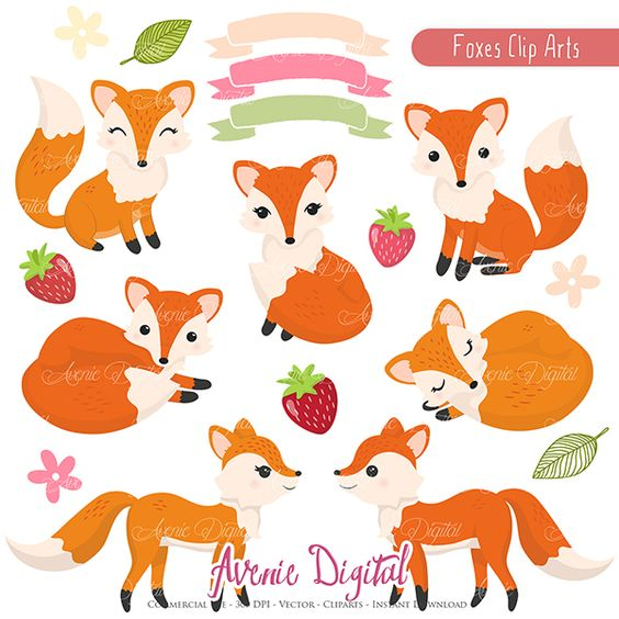 Cute Fox Clipart Scrapbook printables, Autumn clip art set for ... clipart library library