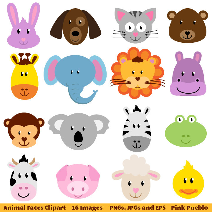 Animals cute clipart for printables picture transparent download Animal Faces Clipart Clip Art, Zoo Jungle Farm Barnyard Forest ... picture transparent download