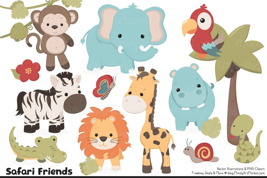 Animals cute clipart svg royalty free Cute Safari Animal Vectors & Clipart svg royalty free