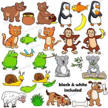 Animals eating clipart clip black and white stock Clip Art Animals and their Food | Clipart BUNDLE clip black and white stock
