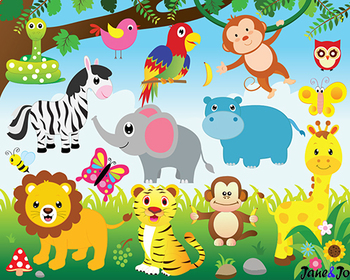 Zoo animals background clipart