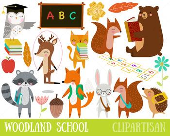 Animals in school clipart clip art download Woodland Animals Back to School Clip Art, Forest School clip art download