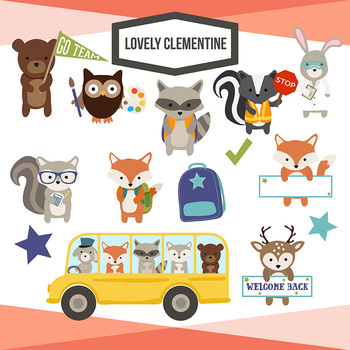 Animals in school clipart svg freeuse library School Woodland animals clip art - back to school - Lovely Clementine svg freeuse library