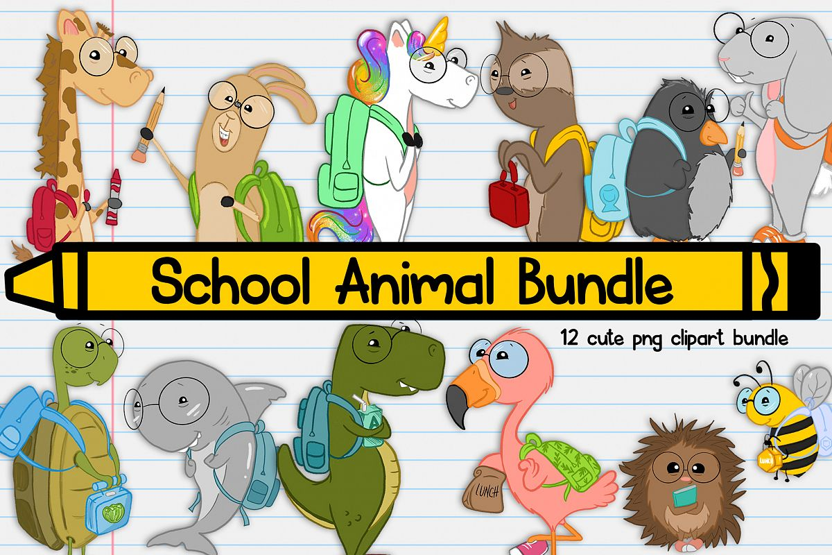 Animals in school clipart banner royalty free School Animals| Back to School Illustration| School Clipart banner royalty free