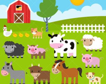 Animals in the barn clipart jpg royalty free Farm Baby Animals Clipart / Cute Animal Clipart / Barnyard Animals ... jpg royalty free