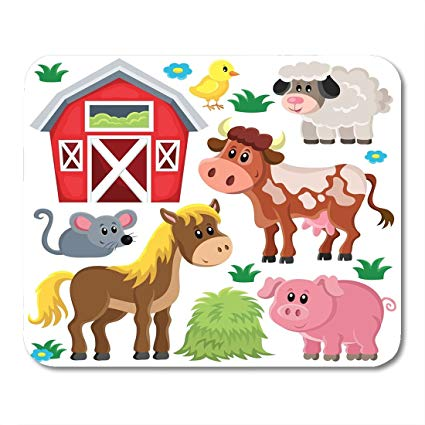 Cute farm animal clipart graphic freeuse library Amazon.com : Nakamela Mouse Pads Barn Cute Farm Animals Clipart ... graphic freeuse library