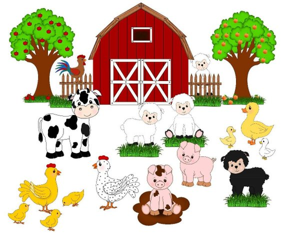 Animals in the barn clipart image stock Farm animals , farm clip art, cute animals, barn,fruit trees ... image stock