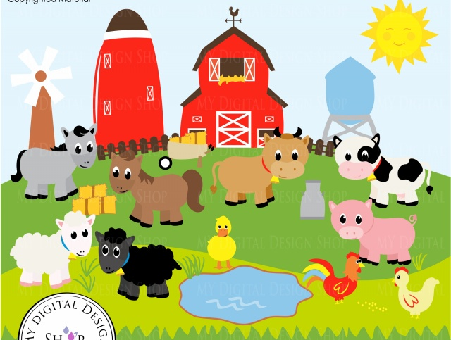 Vector clipart set animals vector royalty free library Old MacDonald, Farm Animals, Vector Clipart Image, Scrapbooking Farm, Barn,  Windmill, Cows, Sheep, Duck, Rooster, Hen, Baby Animals, PNG/EPS | Meylah vector royalty free library