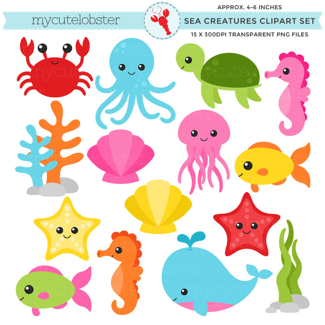 Cartoon sea creatures clipart clip art royalty free download Free Marine Animals Cliparts, Download Free Clip Art, Free Clip Art ... clip art royalty free download