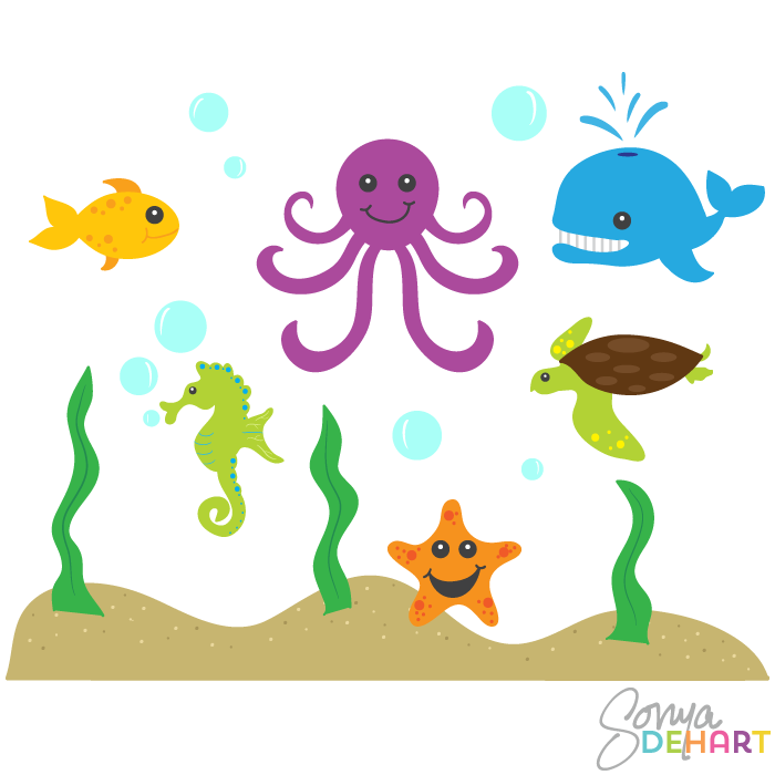 Clipart sea life vector royalty free download Free Sea Animal Art, Download Free Clip Art, Free Clip Art on ... vector royalty free download