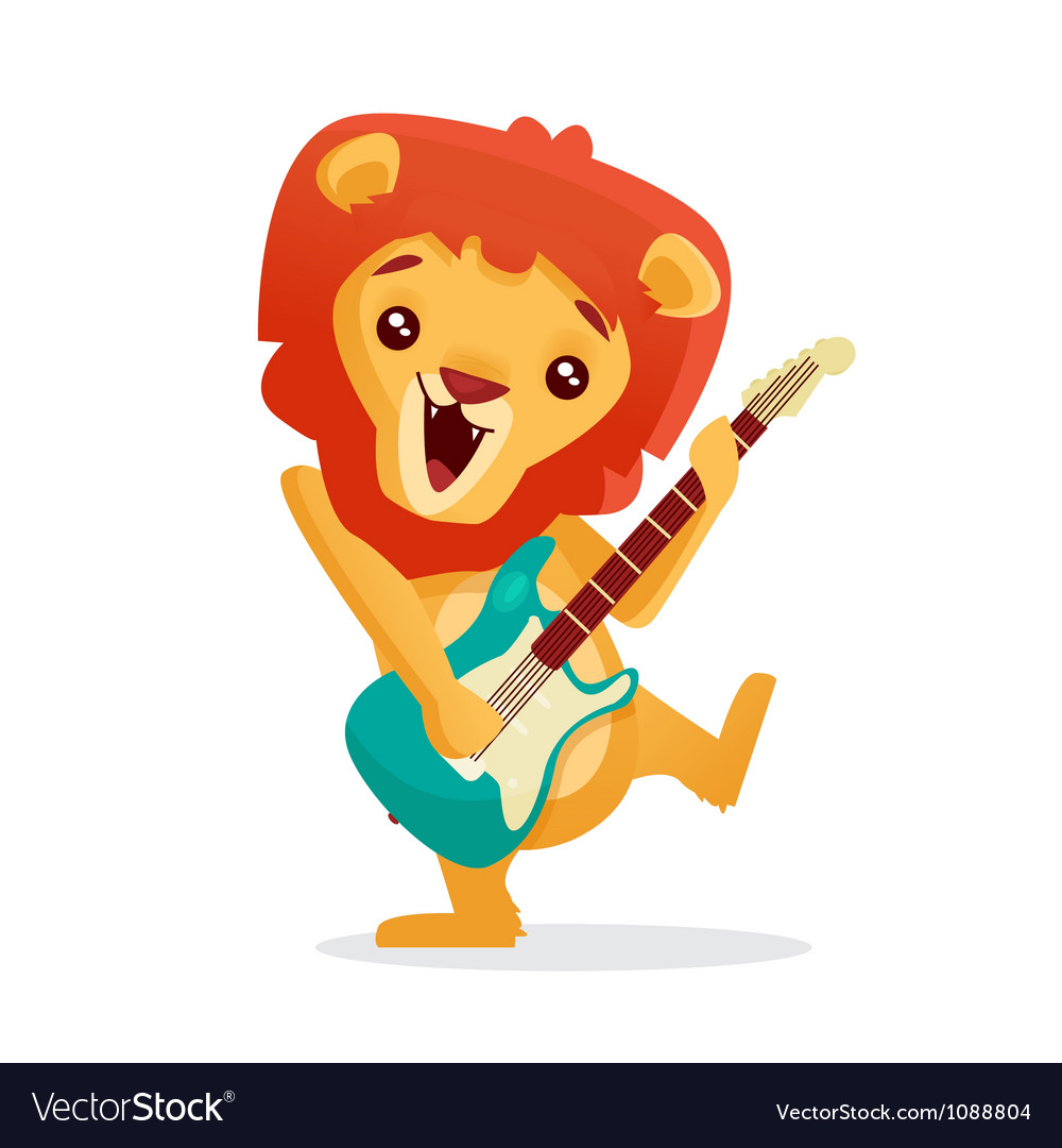 Animals playing musical instruments clipart picture transparent Musical animals Lion Guitar picture transparent