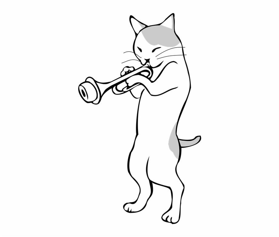 Animals playing musical instruments clipart image free Trumpet, Musical Instruments, Music, Jazz, Cat - Animal Playing ... image free
