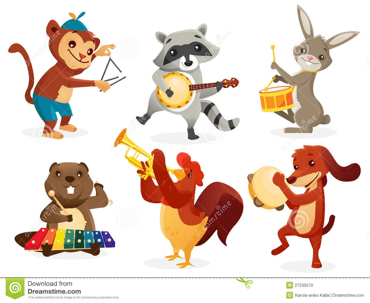 Animals playing musical instruments clipart jpg freeuse In Clip Art Animals Playing Musical Instruments 27230570 | Clip Art jpg freeuse