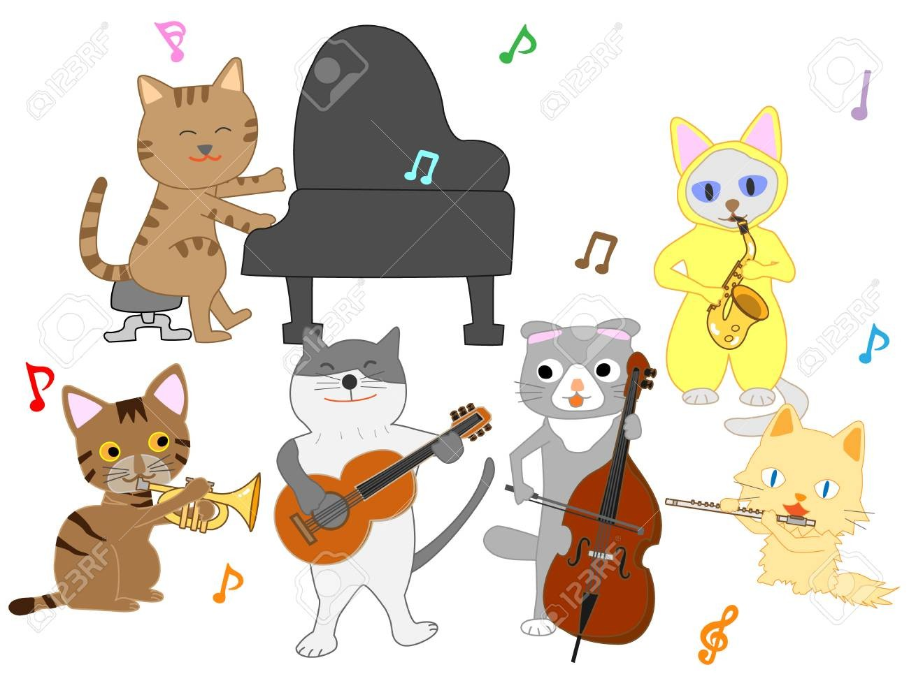 Animals playing musical instruments clipart graphic royalty free library For Clip Art Animals Playing Musical Instruments 94976019 Cat ... graphic royalty free library