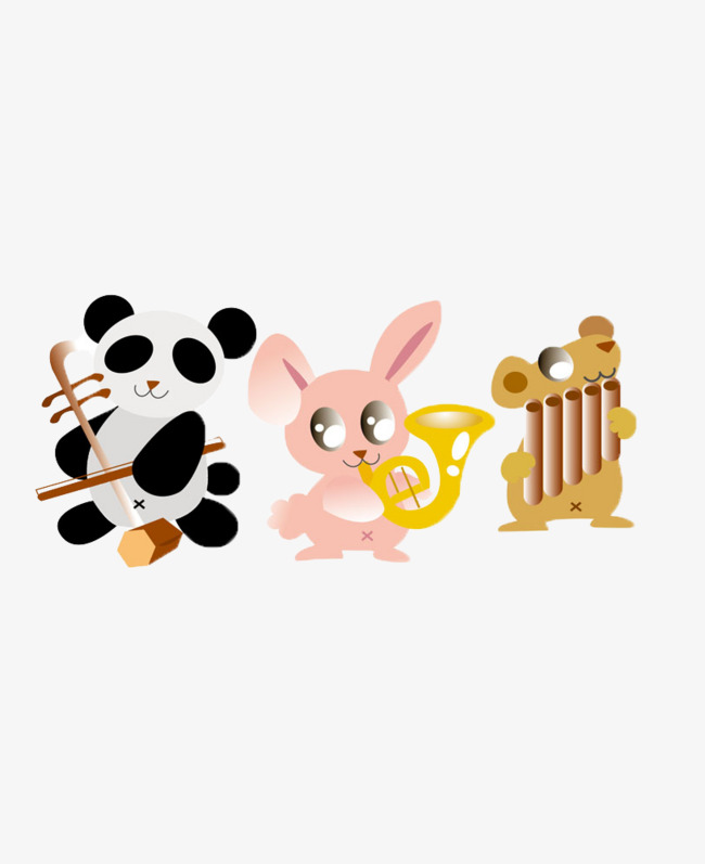 Animals playing musical instruments clipart image library download Cute Cartoon Animals Playing Musical Ins #74855 - PNG Images - PNGio image library download